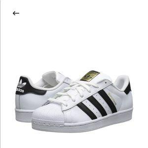 Adidas superstar white and black stripe shoe